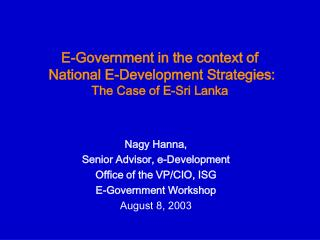 E-Government in the context of  National E-Development Strategies: The Case of E-Sri Lanka