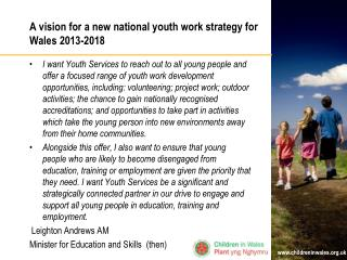 A vision for a new national youth work strategy for Wales 2013-2018