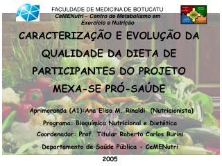 CARACTERIZAÇÃO E EVOLUÇÃO DA QUALIDADE DA DIETA DE PARTICIPANTES DO PROJETO MEXA-SE PRÓ-SAÚDE