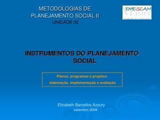METODOLOGIAS DE PLANEJAMENTO SOCIAL II UNIDADE 02