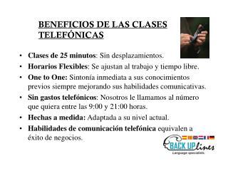 BENEFICIOS DE LAS CLASES  TELEFÓNICAS