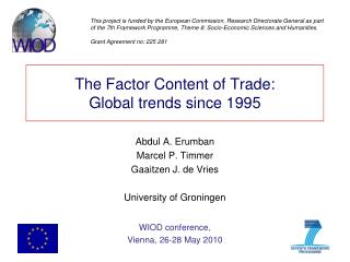 The Factor Content of Trade: Global trends since 1995