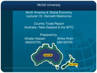 McGill University North America & Global Economy Lecturer: Dr. Kenneth Matziorinis