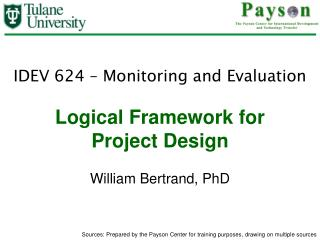 Logical Framework for  Project Design