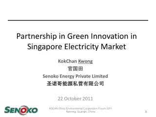 Partnership in Green Innovation in Singapore Electricity Market