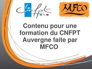 Contenu pour une formation du CNFPT Auvergne faite par MFCO