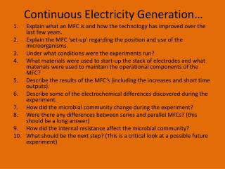 Continuous Electricity Generation…
