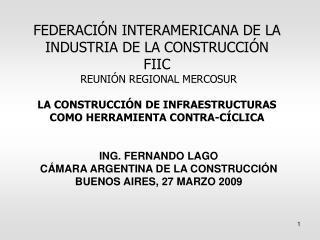 ING. FERNANDO LAGO CÁMARA ARGENTINA DE LA CONSTRUCCIÓN  BUENOS AIRES, 27 MARZO 2009