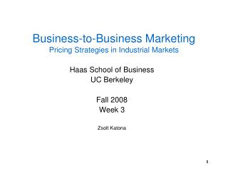 Business-to-Business Marketing Pricing Strategies in Industrial Markets
