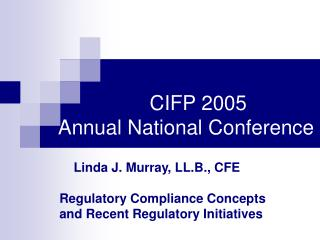 CIFP 2005  Annual National Conference
