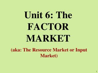Unit 6: The FACTOR MARKET