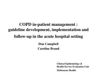COPD in-patient management :  guideline development, implementation and follow-up in the acute hospital setting