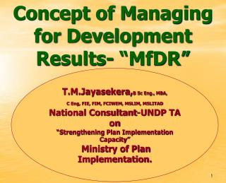 "Concept of Managing for Development Results- ""MfDR"""