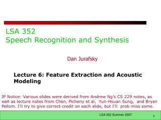 LSA 352 Speech Recognition and Synthesis