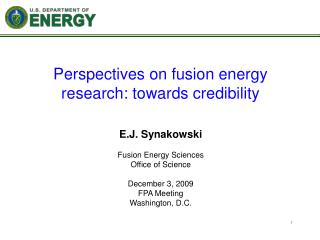 Perspectives on fusion energy research: towards credibility