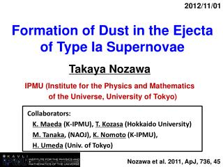 Formation of Dust in the Ejecta of Type Ia Supernovae