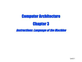 Computer Architecture Chapter 3 Instructions: Language of the Machine