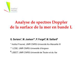 Analyse de spectres Doppler  de la surface de la mer en bande L