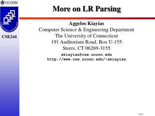 More on LR Parsing