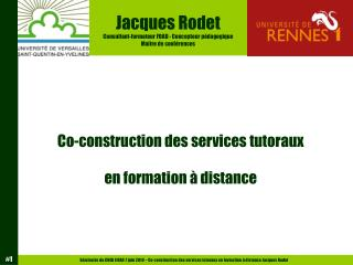 Co-construction des services tutoraux en formation à distance