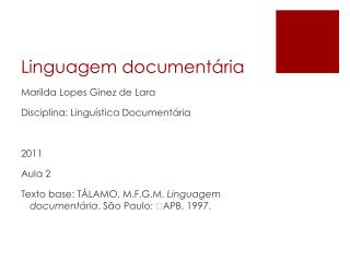 Linguagem document�ria