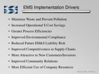EMS Implementation Drivers