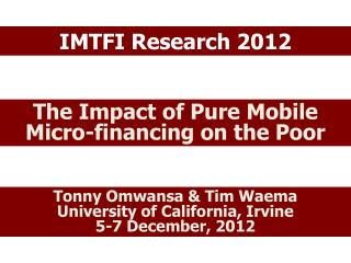 IMTFI Research 2012
