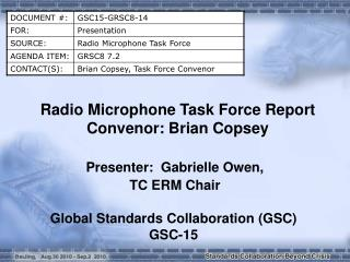 Radio Microphone Task Force Report Convenor: Brian Copsey