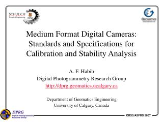 Medium Format Digital Cameras: Standards and Specifications for Calibration and Stability Analysis