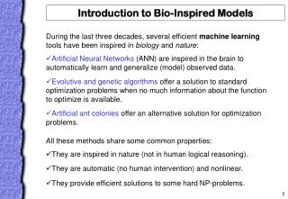 Introduction to Bio-Inspired Models