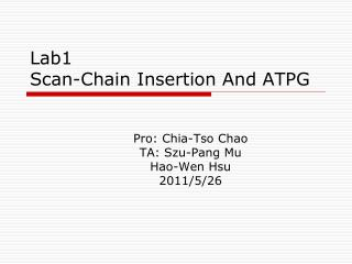Lab1 Scan-Chain Insertion And ATPG