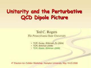 Unitarity and the Perturbative QCD Dipole Picture