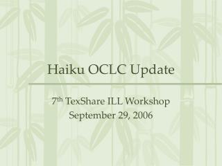Haiku OCLC Update