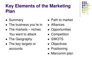 Key Elements of the Marketing Plan