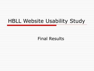 HBLL Website Usability Study
