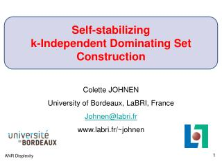 Self-stabilizing  k-Independent Dominating Set Construction