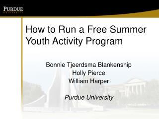 How to Run a Free Summer Youth Activity Program