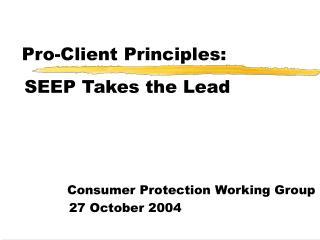 Pro-Client Principles: