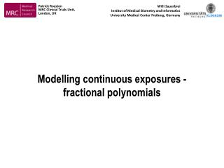 Modelling continuous exposures -  fractional polynomials