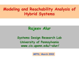 Modeling and Reachability Analysis of Hybrid Systems