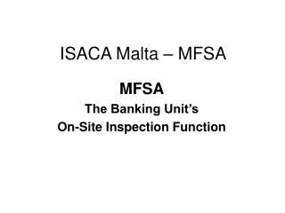 ISACA Malta – MFSA