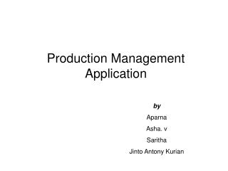 Production Management Application