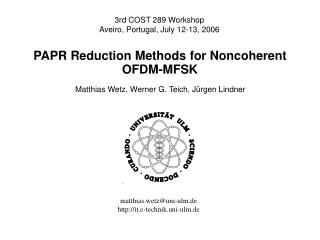 PAPR Reduction Methods for Noncoherent OFDM-MFSK