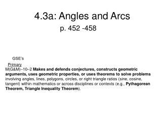 4.3a: Angles and Arcs