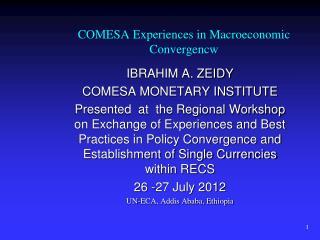 COMESA Experiences in Macroeconomic Convergencw