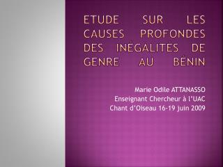 Etude sur les causes profondes des inégalités de genre au Bénin