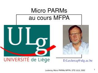 Micro PARMs au cours MFPA