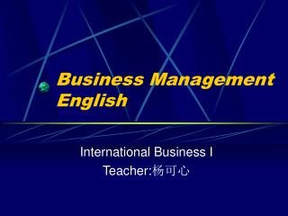 Business Management English