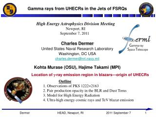 Gamma rays from UHECRs in the Jets of FSRQs