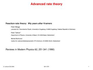 Advanced rate theory